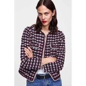 NWT Zara Red Tweed Textured Blazer